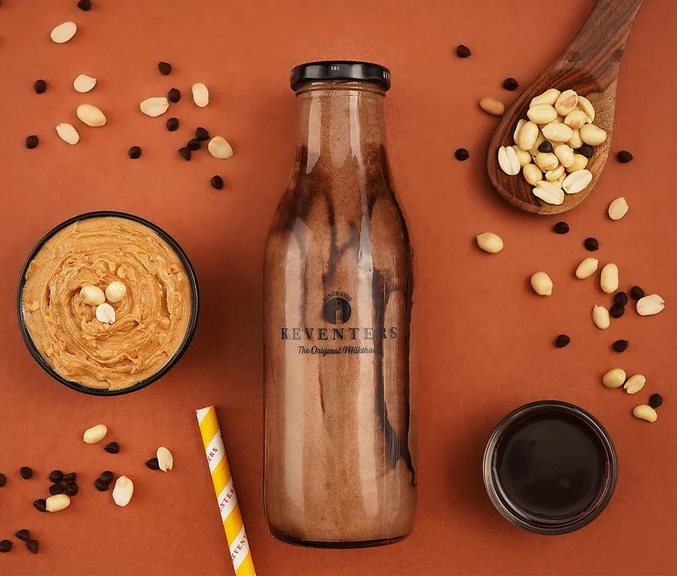 Keventers milkshake glass bottle design