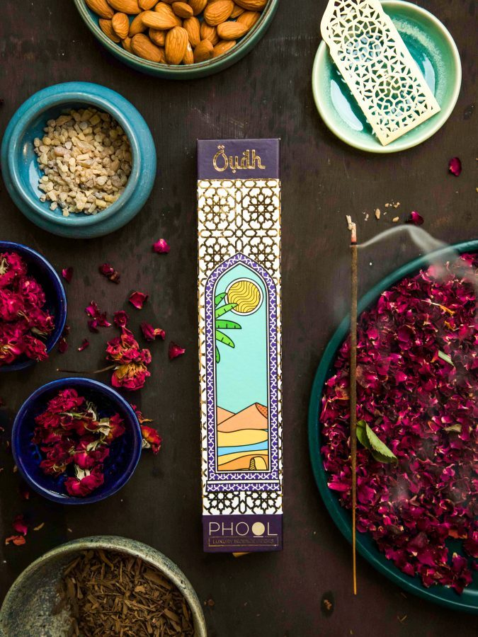 The Oudh incense pack references its place of origin
