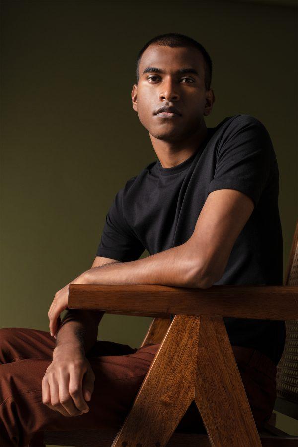 Male model wearing March supima Tshirt